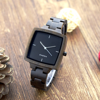 Handmade Fashion Wood Watches Top Brand Designer Mens Wood Watch Black Sandalwood Wooden Quartz Watches For