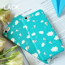 Cartoon Blue Sky White Clouds Painting Case For iphone 6 Case Hard PC Frosted Cover Phone Cases For iphone 6S 7 Plus