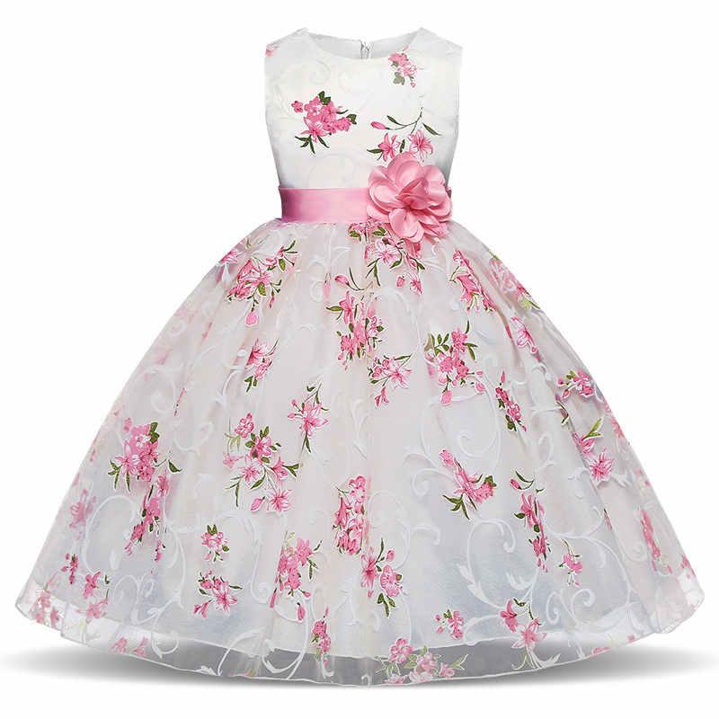 Girls Dress Flower Printed 2018 New Summer Princess Wedding Party Dresses Size 3 4 5 6 7 8 Years Girls School Elegant Clothing