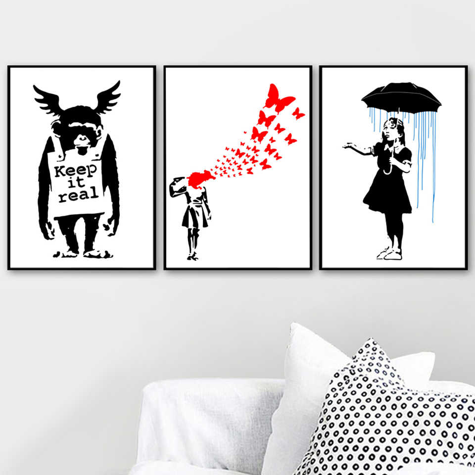 Wall Art Nordic Canvas Paintings Banksy Girl Anime Picture HD Prints Home Decor Modern Poster Minimalist For Living Room Modular