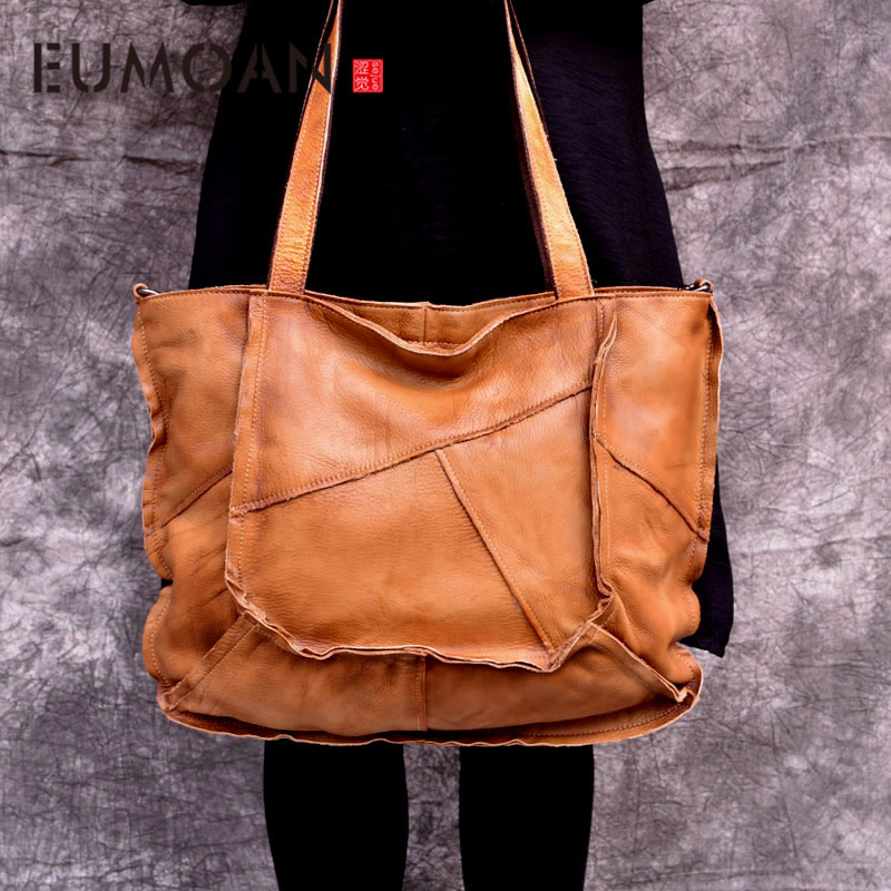 EUMOAN Leather totes bag female large new cowhide leather ladies retro literary simple hand brushed shoulder