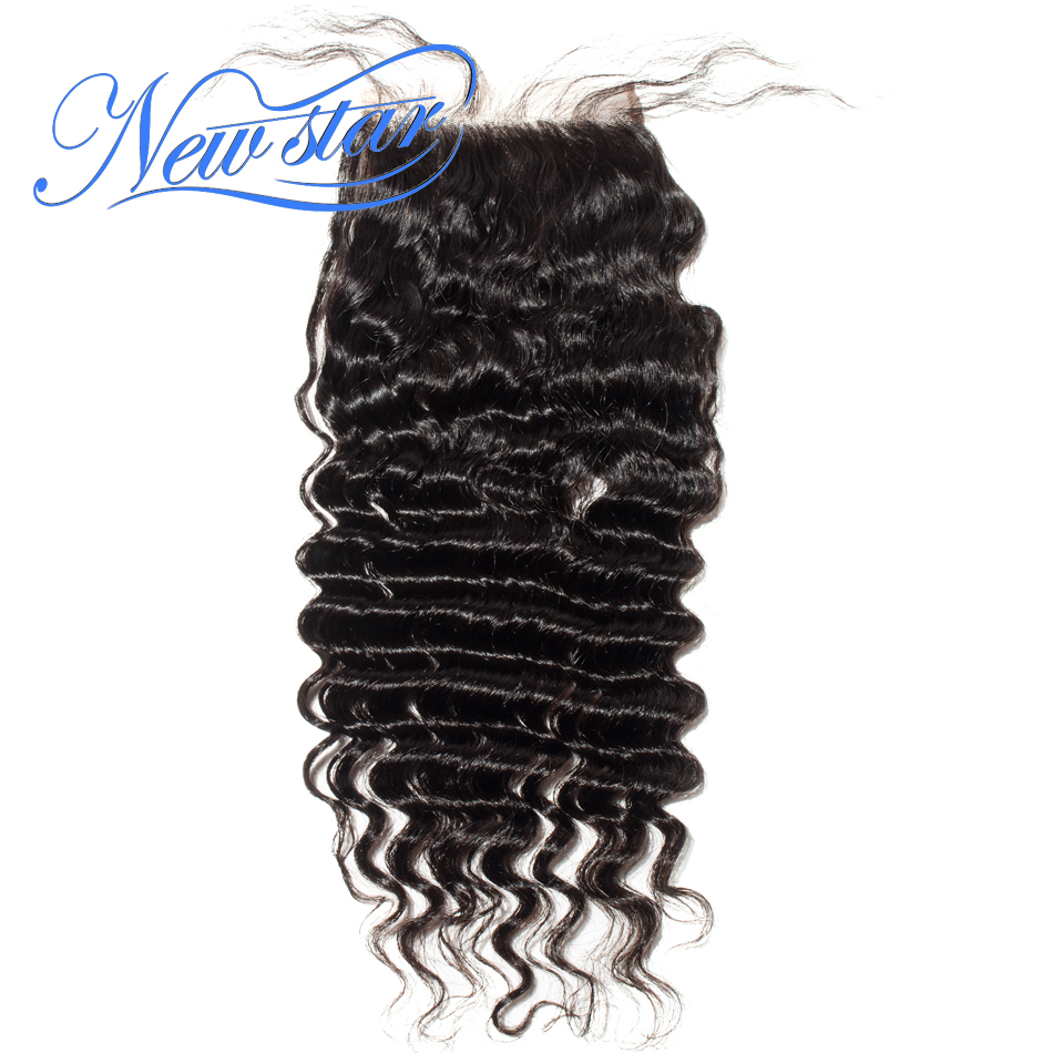 Closure Human-Hair Free-Part Lace Deep-Wave Virgin Swiss Natural-Color Brazilian Brown