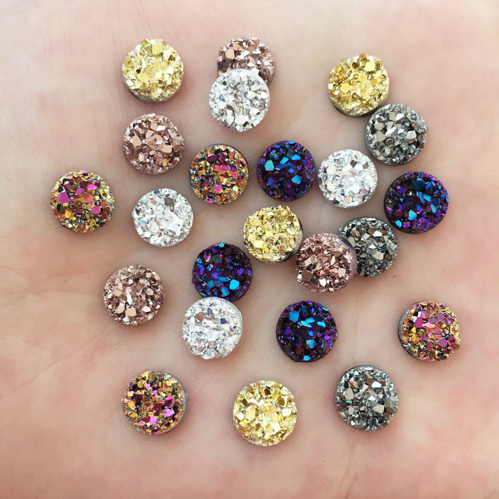 120pcs AB Resin Bling Irregularity Surface Ore Crystal <font><b>8mm</b></font> Round Flatback Rhinestone Ornament DIY Wedding Appliques Craft W72*3 image