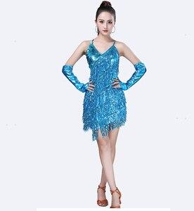 Image 5 - פאייטים תלבושות נשים מבריק המפלגה שמלת שמלות קצב סלוניים סמבה רומבה טנגו שלב למבוגרים פרינג ריקוד לטיני שמלה