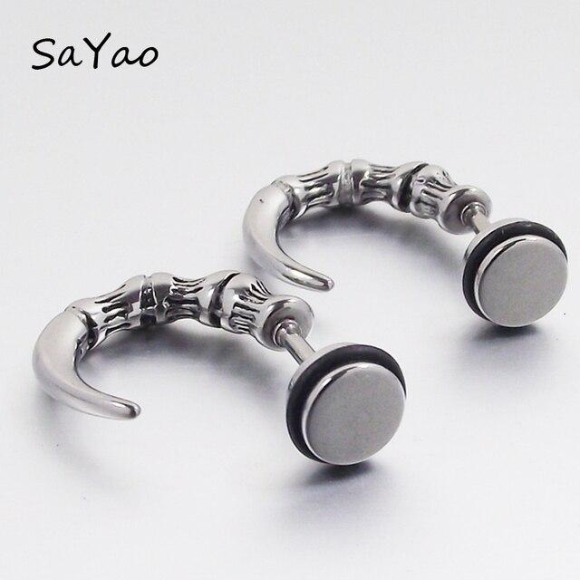 Sayao 2 Piece Punk Rock Stainless Steel Earring Studs Mens Boy Earrings Ear Plug Stud