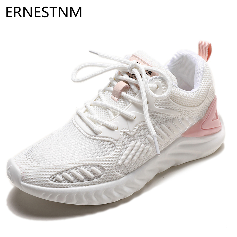 ERNESTNM Sneakers Women 2019 Platform Sneakers Flyknit Mesh Breathable Outdoor Casual Shoes Woman Solid Pink Zapatos De Mujer