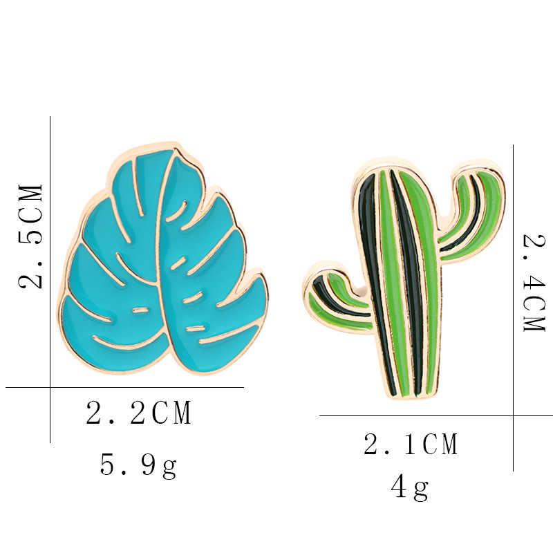 Di alta Qualità Giapponese Fresco Foglia di Banana Spilla Foglia di Cactus Olio Gocciolante Cartoon Badge Regalo Spilla Commercio All'ingrosso