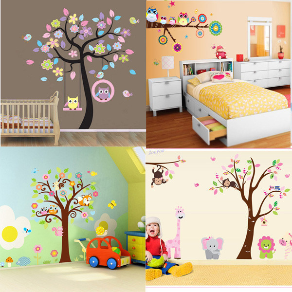 DIY Cute Owl Tree PVC Art Wall Stickers Decals Home Decor Kids Baby Nursery R