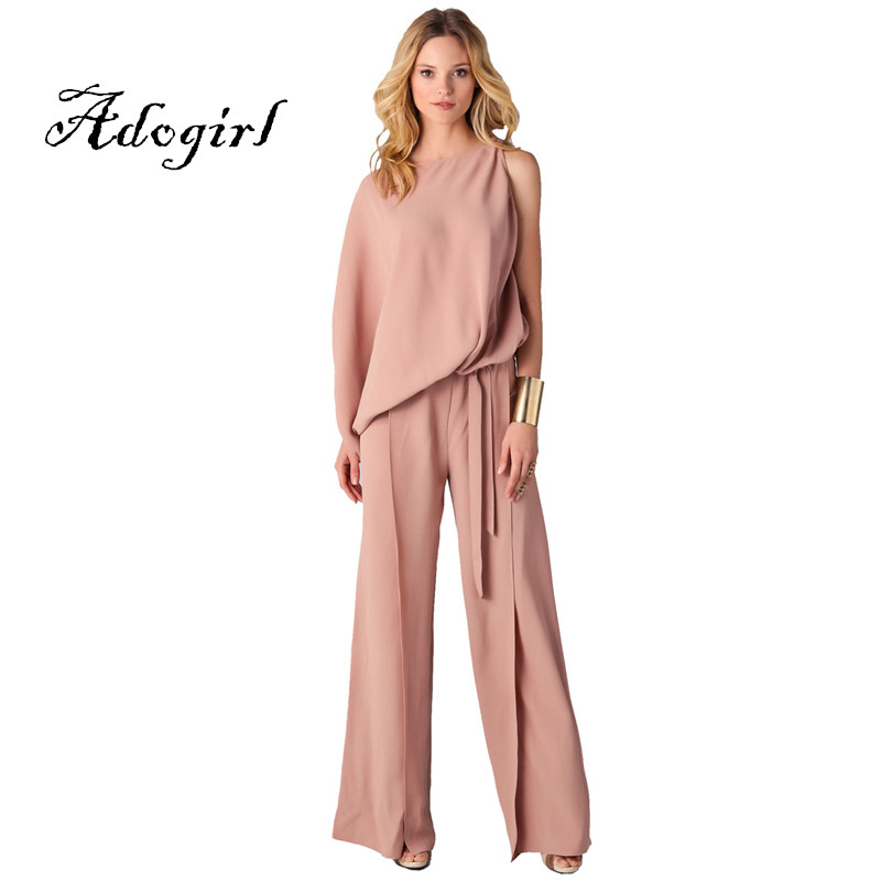 Adogirl 2017 Fashion Pink Women Autumn Cotton Casual Wide Legs Jumpsuit Plus Sizes 3XL Sexy One Shoulder Club Loose Long Rompers