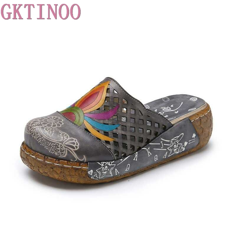 GKTINOO Flower Slippers Genuine Leather Shoes Handmade Slides Flip Flop On The Platform Clogs For Women Woman Slippers Plus Size shoulder cut plus size flower blouse