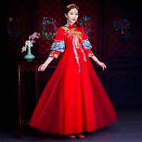 Vintage red Embroidery Cheongsam Modern Traditional Chinese style Wedding Dress Oriental Women's Long Qipao Vestidos Size S XXXL