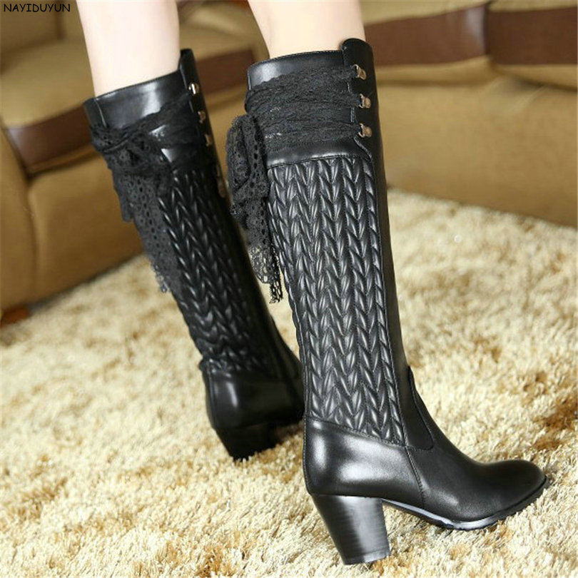 NAYIDUYUN    New Fashion Thigh High Boots Women Genuine Leather Round Toe Knee High Boots High Heel Party Pumps Casual Shoes nayiduyun new fashion thigh high boots women genuine leather round toe knee high boots high heel party pumps casual shoes