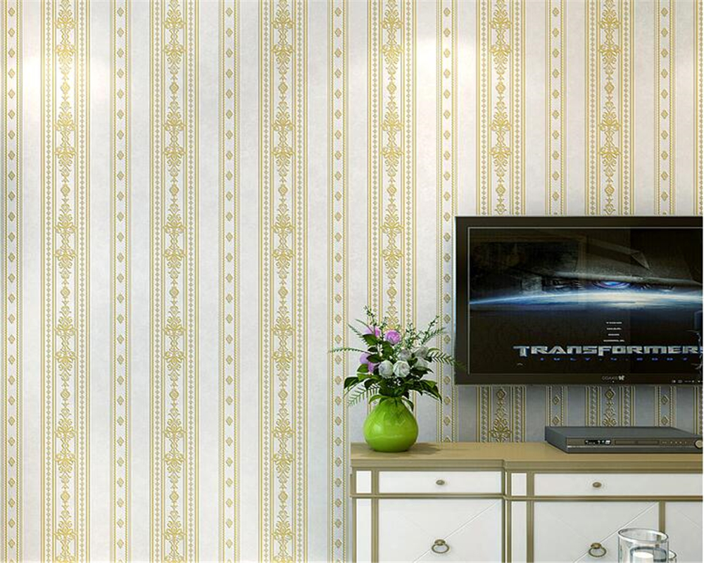 beibehang Simple modern vertical striped wall paper European style nonwoven fabric living room TV background 3d wallpaper tapety beibehang fabric european   style