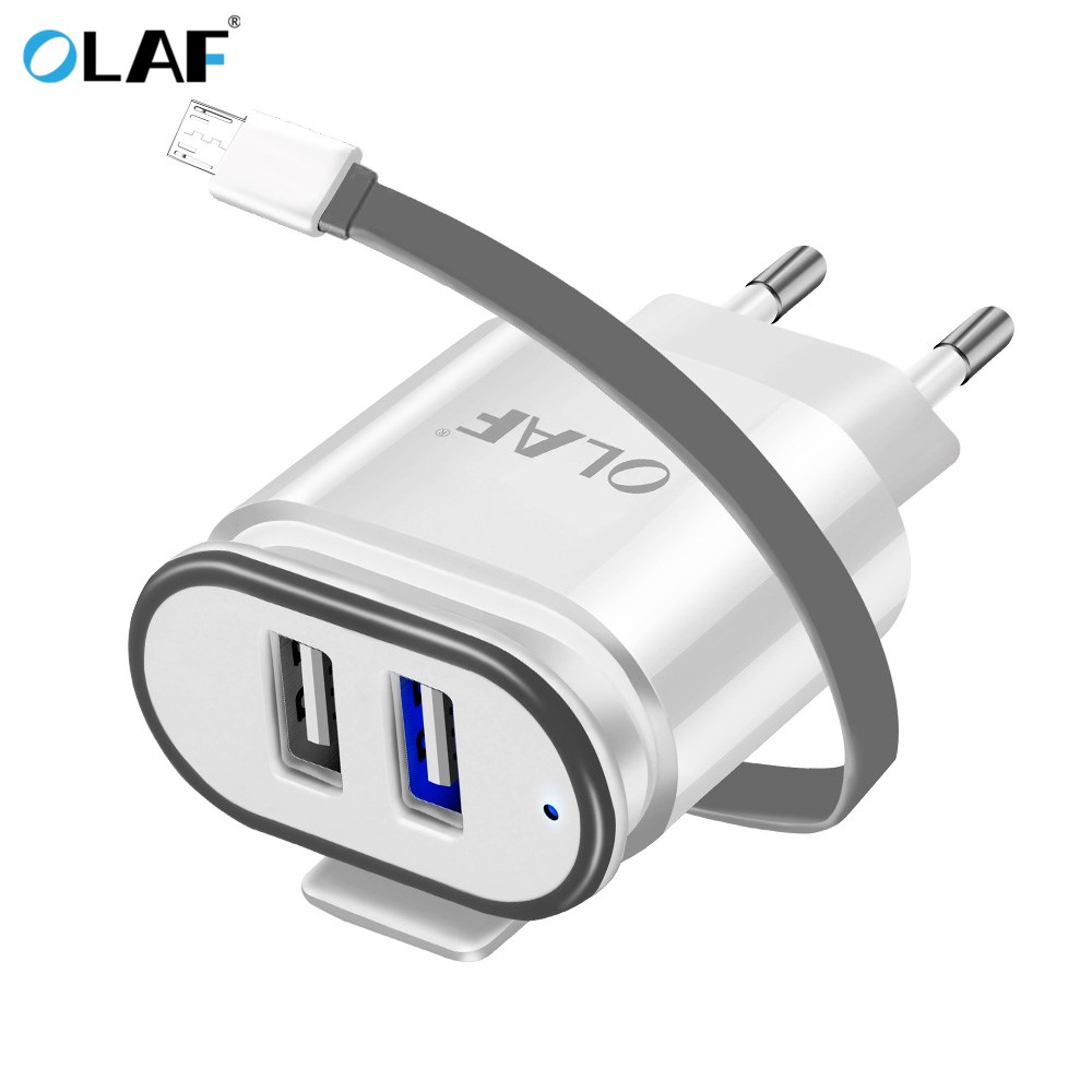 OLAF EU Plug 2in1 Dual USB Charger Micro USB Cable For Xiaomi Redmi Note 4X Mobile Phone Fast Charge Universal Travel Adapter