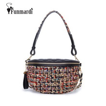 FUNMARDI New Color Fiber Knit Women Waist Packs Fashion Design Shoulder Bag Simple Leather Waist Bags Vintage chain Bag WLAM0070