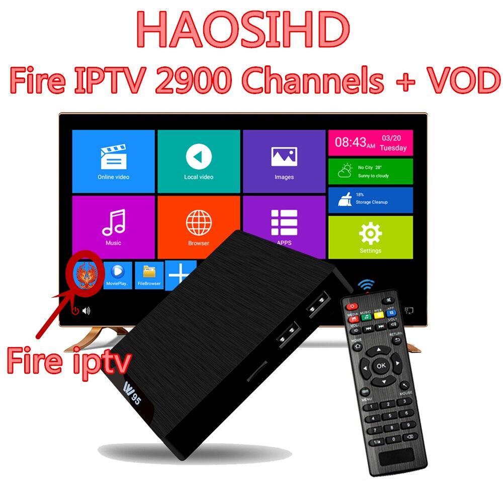 HAOSIHD W95 Fire IPTV abonnement d'un an boîte de télévision indienne Android 7.1 chaînes de télévision 2900 abonnement France espagne boîte de télévision intelligente