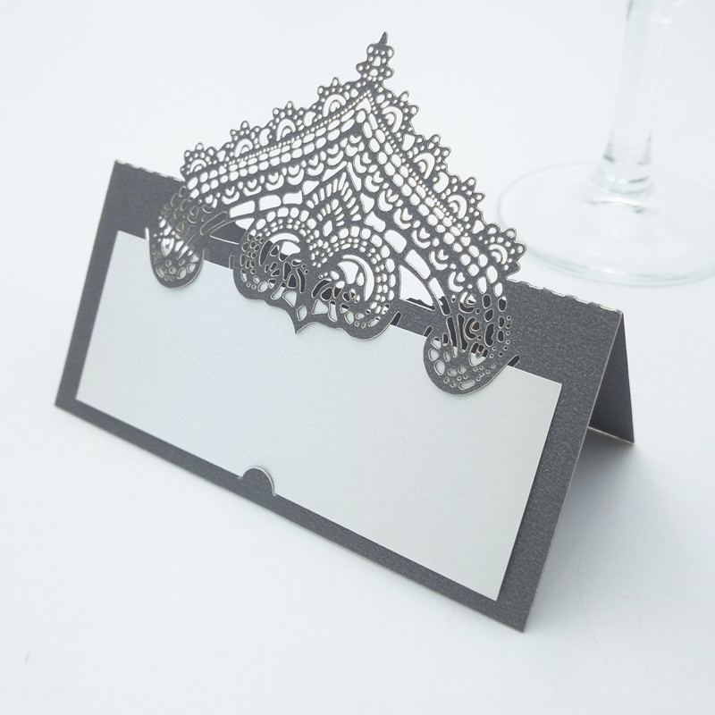 20pcs Laser Cut Name Place Seat Paper Card Table Cards For Party Table Decoration Marriage Favor DIY Crown Decoration 7ZZ49
