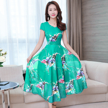YICIYA Green Long Maxi Dresses Woman Party Night Plus Size Xxl Xxxl for Big Women Summer 2019 Print Floral Dress Chiffon Black