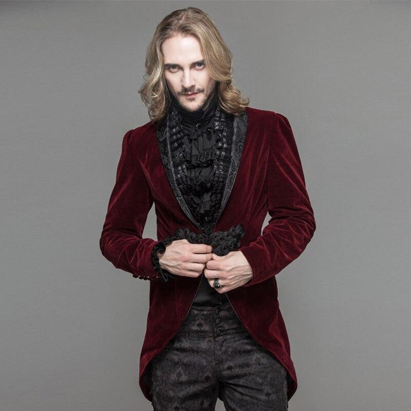 Дьявол Мода готическое мужское платье куртка стимпанк Черный Красный одной кнопки пальто ласточкин хвост Вечеринка ласточкин хвост пальто - 4