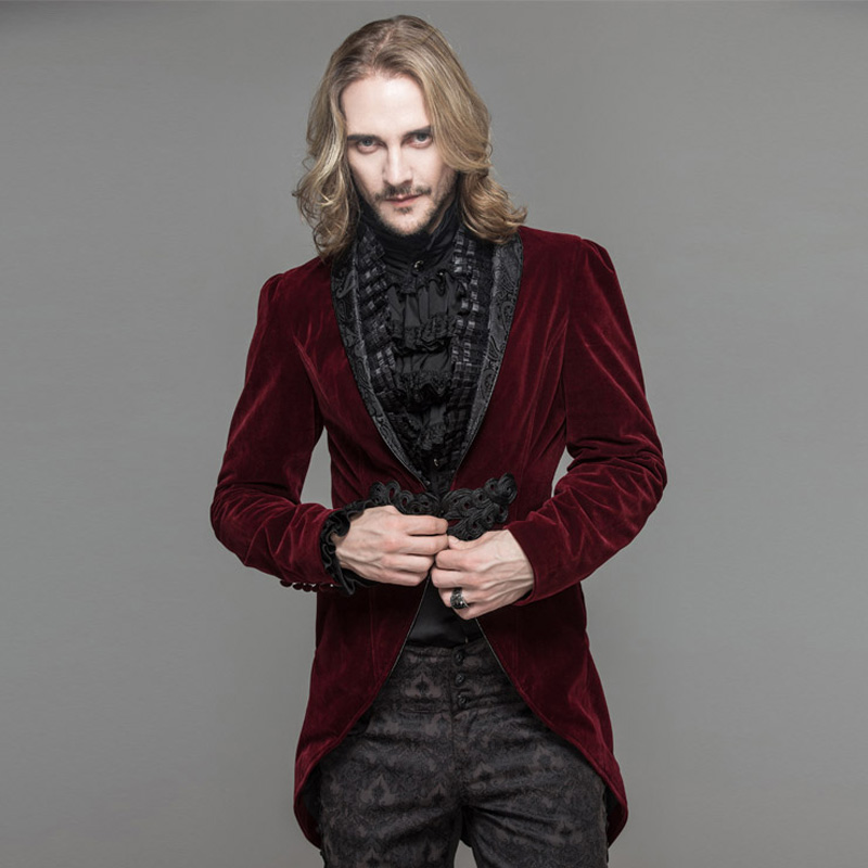 Diable mode gothique hommes robe veste Steampunk noir rouge simple bouton queue d'aronde manteaux soirée fête Swallowtail manteaux - 4
