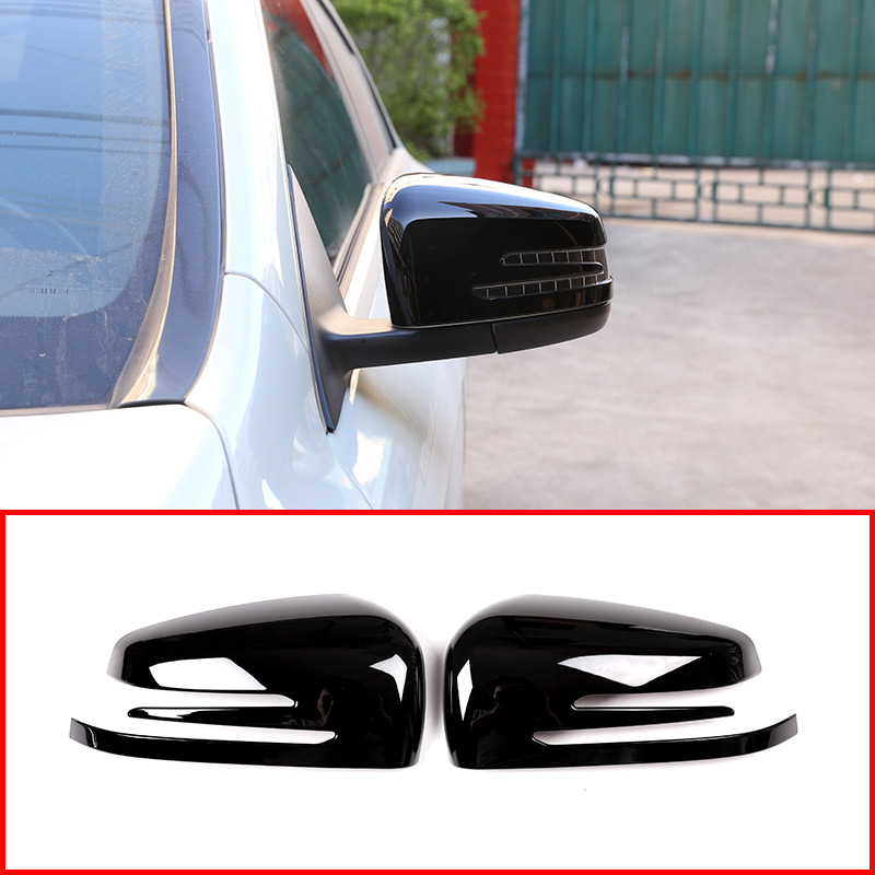 2 x Noir Brillant ABS Chrome Porte Latérale Rétroviseur Miroir Cap Couverture Garniture Pour Mercedes Benz Un CLA GLA GLK classe W176 W117 X156 X204
