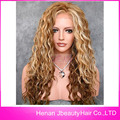 Natural look vintage blonde wig long deep curly wigs synthetic lace front wig heat resistant Synthetic Hair wig