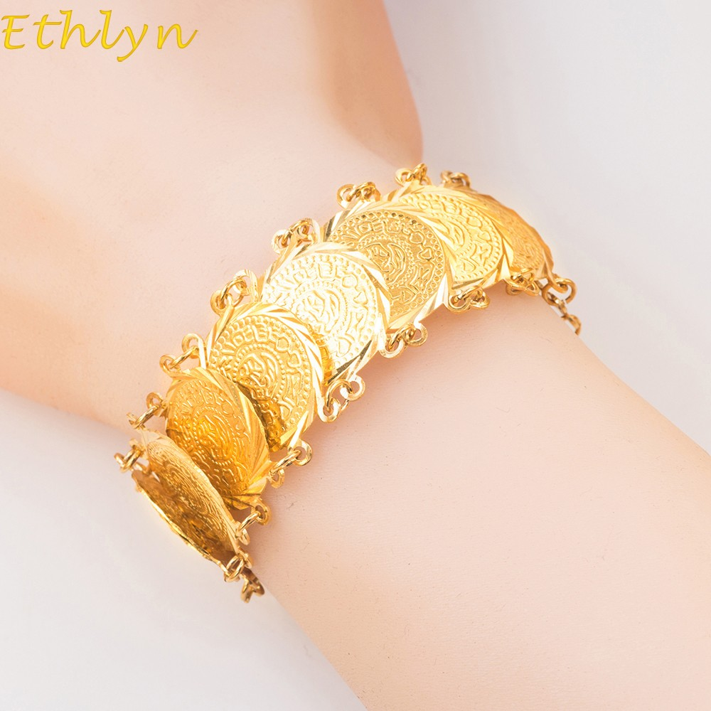 Ethlyn 19cm+5cm Islam Coins Bracelet for Money Coin Bracelet Gold Color Unisex Arab Middle Eastern Jewelry Bangle B26