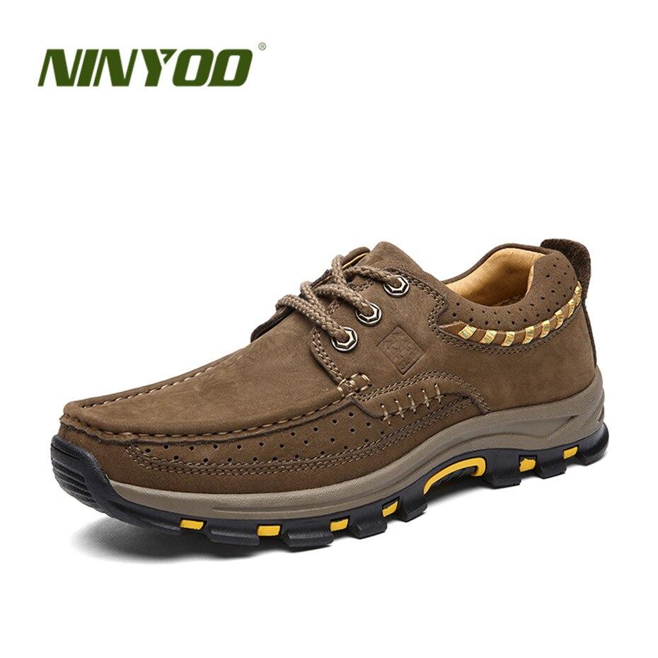 NINYOO/Классика Мужская Уличная обувь из натуральной кожи обувь на платформе осень на шнуровке походная обувь износостойкая резиновая плюс Ра...
