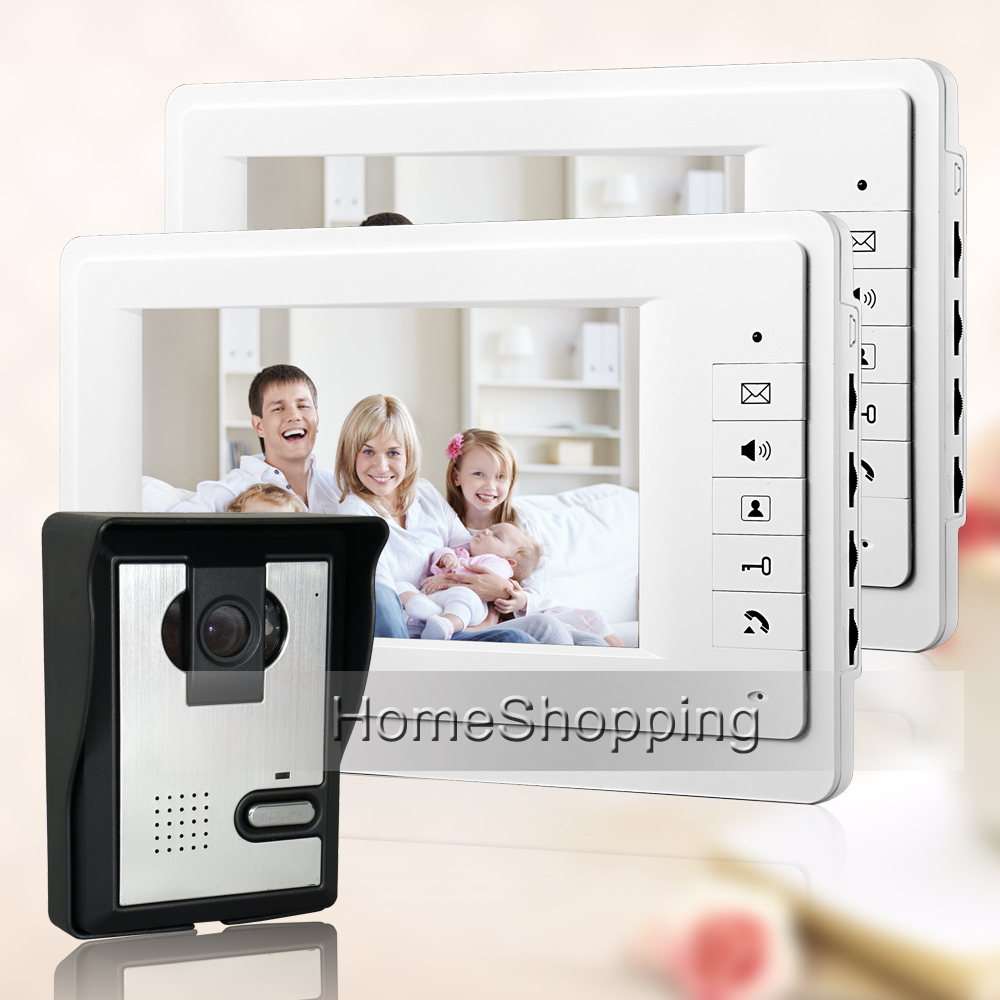 FREE SHIPPING New 7 Color Video Intercom Door Phone System + 2 White Monitor + Waterproof Door bell Camera In Stock Wholesale brand new apartment intercom entry system 2 monitors wired 7 color video door phone intercom system for 2 house free shipping