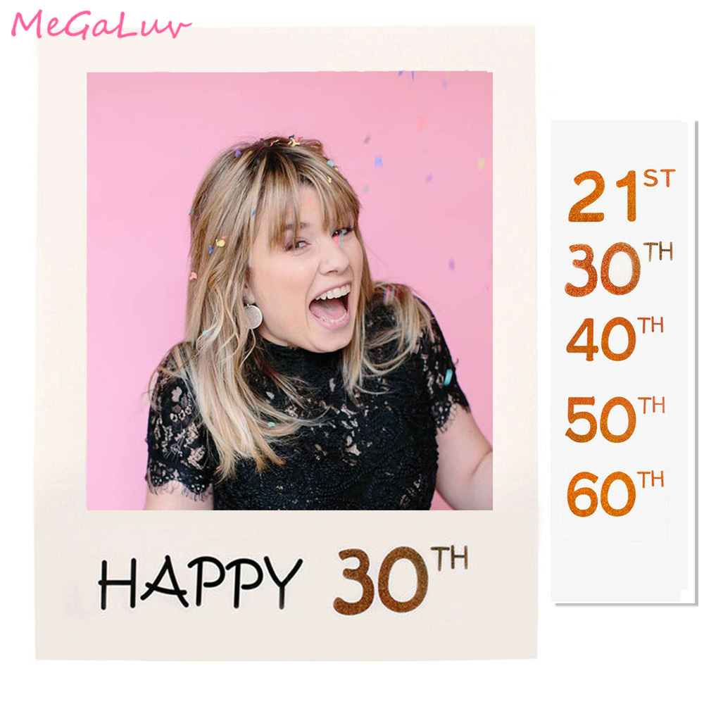 30th Birthday Photo Booth Frame Props 18th 40th 50th 60th Year Old Birthday Party Decorations Adult PhotoBooth Props