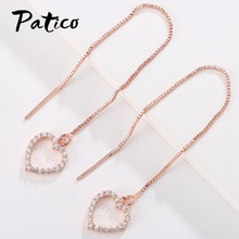 Heart Tassel Drop Dangle Earring Long Ear Line For Women Metal Cubic Zirconia Brincos Jewelry Piercing Rings