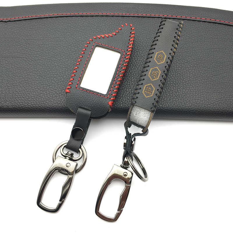 100% caso chave de couro genuíno para starline b9 b9/b91/b6/b61/a91/a61/v7 c9 lcd forma de alarme de carro remoto venda quente