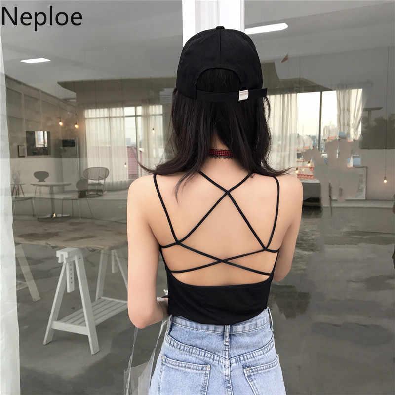 Neploe אופנה צלב ללא משענת נשים טנקי קיץ 2020 חדש O-צוואר שרוולים Camis סקסי מוצק חוף גבירותיי חולצות 44719