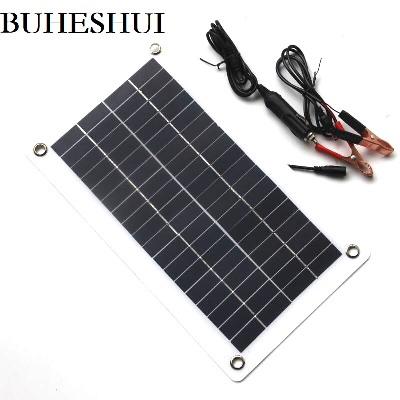 BUHESHUI Semi-flexible 10W 18V 12V Portable Solar Panel Charger with DC 5521 Cable For 12V Car Boat Motor Battery Charger