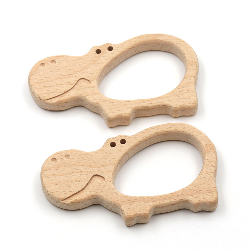JOJOCHEW 2pcs Beech Wood Teething Hippo BPA Free Charms Teething Necklace Natural Wooden Made Baby Gift