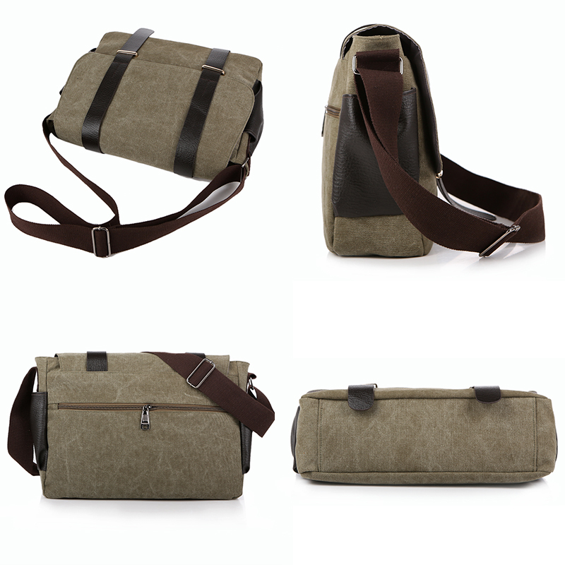 Vintage Canvas Men Messenger Bags Laptop Patchwork Leather Crossbody Bags For Men Male Shoulder Bags Satchel School Bag 1117