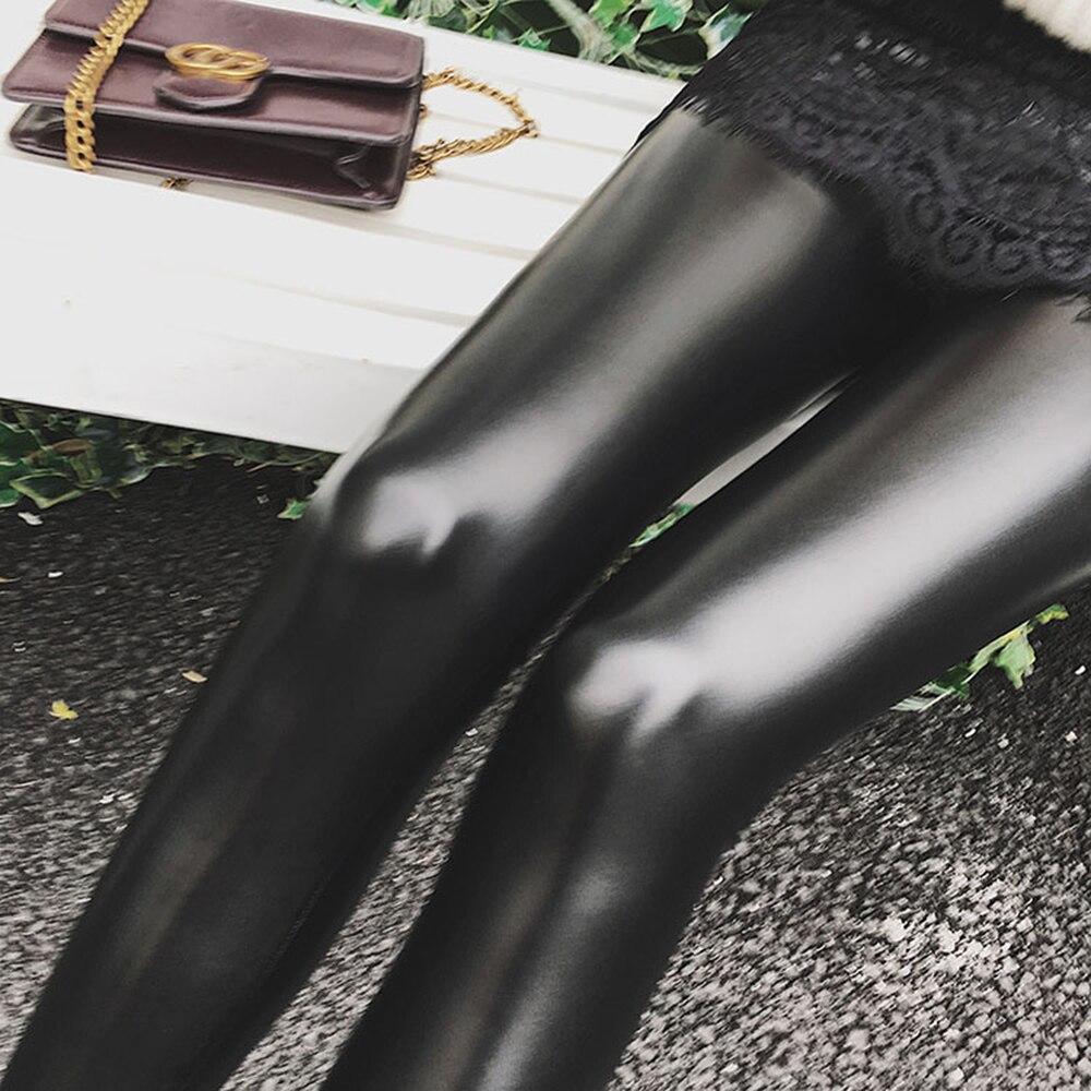 PU Leather   Leggings   Women High Waist Black Leggins Punk Push Up   Leggings   Standard Lace Velvet Solid   Legging