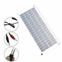 20W Solar Panel 12V to 5V Battery Charger USB for Car Boat Caravan Power Supply CLH@8