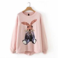 plus size Cartoon Sequined women loose sweater 2019 casual ladies pullovers O neck knitted sweaters female button back oversized