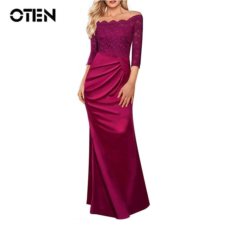 b843aae06d2cc OTEN bridesmaid dresses Women Sexy 2018 Slash Neck Lace Patchwork Formal  Dinner Evening Party Long Maxi