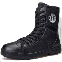 2019 new high canvas boots men black rubber sole army combat boots and tactical shoes(China)