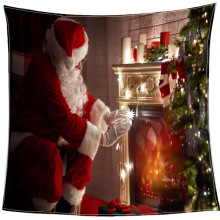 Modern Simple Printing Soft Throw Blanket Flannel Roast Fire Santa Claus Creative Candle Lamp Office Sofa Napping