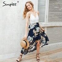 Simplee sexy print lace summer dress strap deep v neck high waist beach dresses women 2017.jpg 200x200
