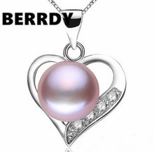 Real Freshwater Natural Pearl Pendant Necklace Beautiful Grace Shining Heart Pearl Jewelry Women Accessory(China)
