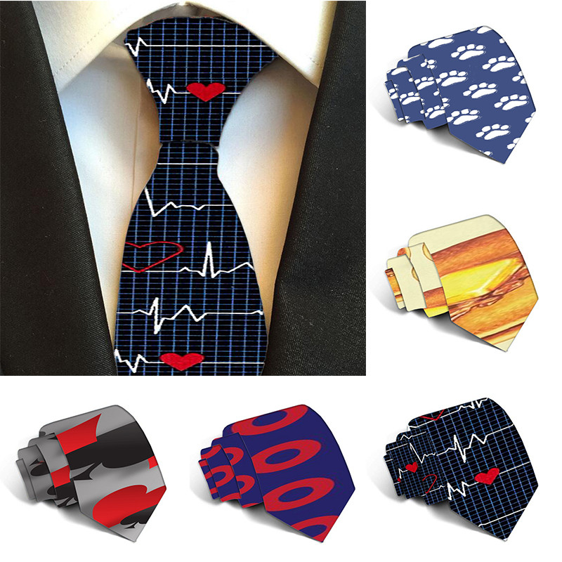 Free Shipping Classic Fashion Men's Music Tie Festival Printed Animal Polyester 8cm Tie For Men Width Necktie 5S-LD24