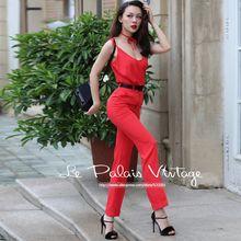 Le Palais Vintage 2016 New Elegant Big Red Loose Vest High Waist Straight Pants Slim Was Thin Two Piece Set Women Winter Suit