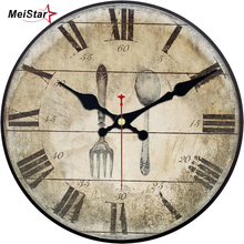 MEISTAR Shabby Chic Wall Clock Food Tableware Silent Kitchen Room Decor Art Home Watches Large