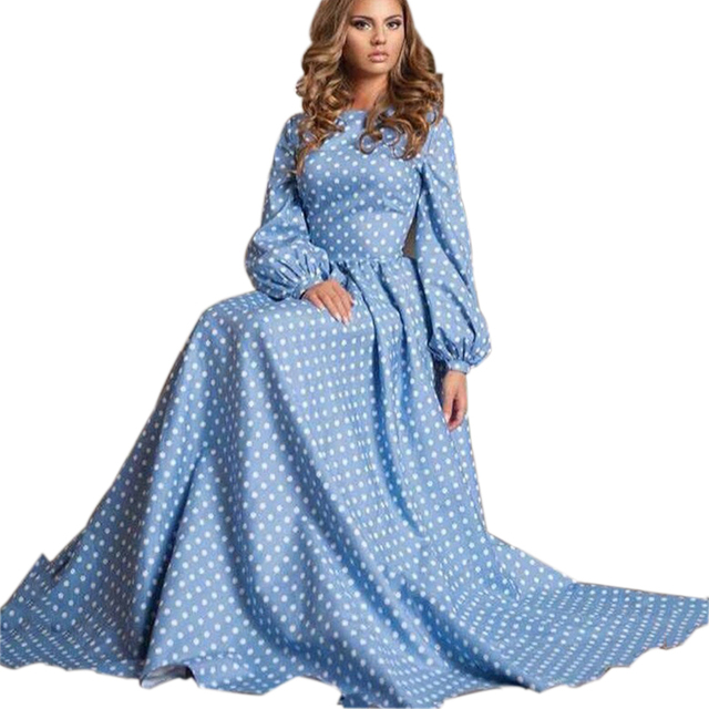 Casual Autumn Long Dress O-neck Lantern Long Sleeve Maxi Dress Plus Size  Women Clothing desigual Polka Dot Dress HZLP-10002 462f583d4dac