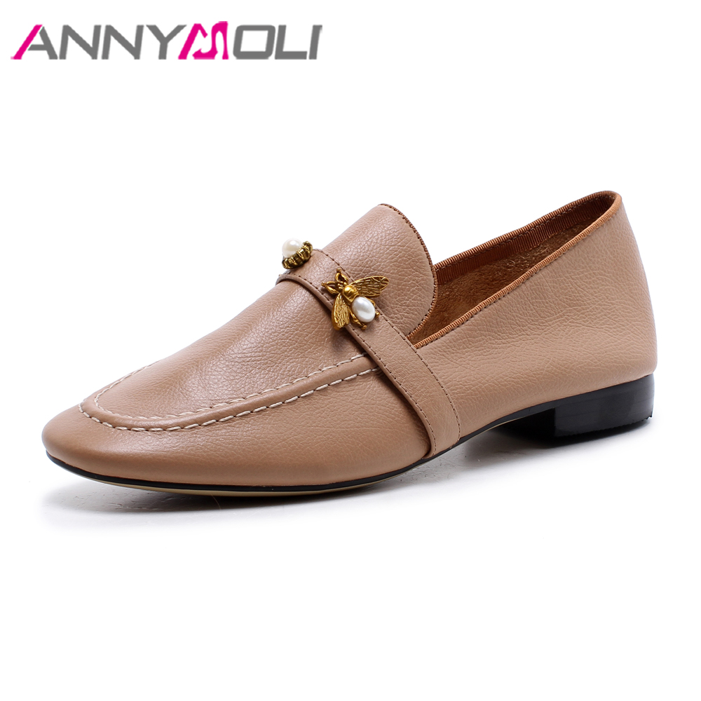 ANNYMOLI Women Moccasins Shoes Real Leather Loafers Shoes Bee Pearls Flats Slip On Mules Shoes Spring Genuine Leather Flat Brown annymoli women flat platform shoes creepers real rabbit fur warm loafers ladies causal flats 2018 spring black gray size 9 42 43