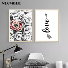 Scandinavian Style Black White Romantic Wall Art Canvas Posters Prints Arrow Love Painting Decoration Pictures Modern Home Decor